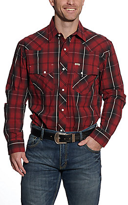 Rafter C ProFlex45 Men's Red Dobby Plaid Long Sleeve Western Shirt