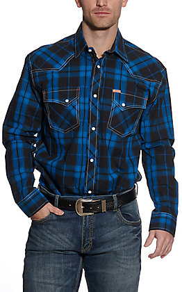 Rafter C ProFlex45 Men's Blue Plaid Long Sleeve Western Shirt