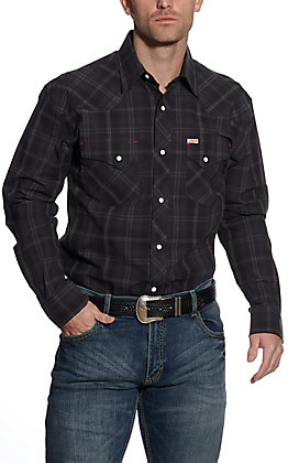 Rafter C ProFlex45 Men's Black & Grey Plaid Long Sleeve Western Shirt