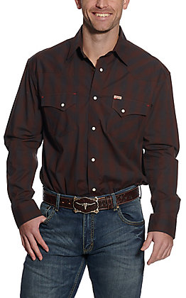 Rafter C ProFlex45 Men's Chocolate & Black Plaid Long Sleeve Western Shirt