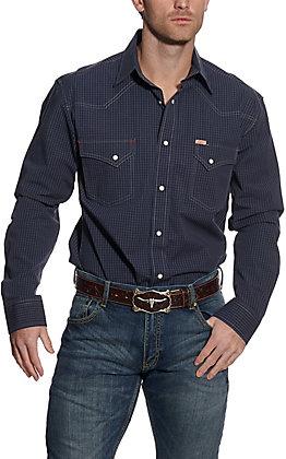 Rafter C ProFlex45 Men's Navy Mini Plaid Long Sleeve Western Shirt