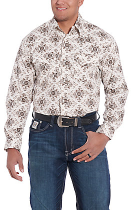 Rafter C ProFlex45 Men's White and Black Medallion Print Long Sleeve Western Shirt