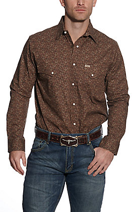 Rafter C ProFlex45 Men's Black with Brown Paisley Long Sleeve Western Shirt