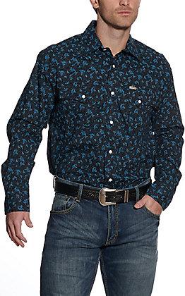Rafter C ProFlex45 Men's Black & Blue Paisley Print Long Sleeve Western Shirt