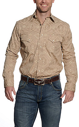Rafter C ProFlex45 Men's Light Khaki Paisley Print Long Sleeve Western Shirt