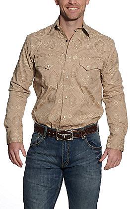 Rafter C ProFlex45 Men's Light Khaki Paisley Print Long Sleeve Western Shirt