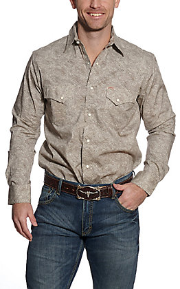 Rafter C ProFlex45 Men's Cream & Chocolate Brown Paisley Long Sleeve Western Shirt