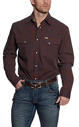 Rafter C ProFlex45 Men's Brown and Navy Gingham Long Sleeve Western Shirt