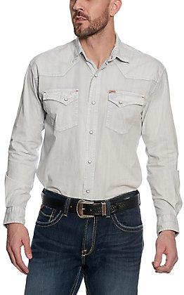 Rafter C ProFlex45 Men's White Bleach Wash Long Sleeve Western Shirt