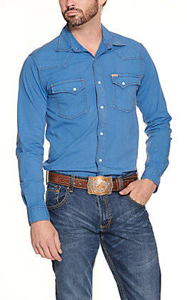 Rafter C ProFlex 45 Men's Solid Blue Wash Long Sleeve Stretch Western Shirt