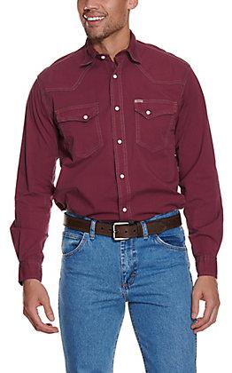 Rafter C ProFlex Men's Solid Maroon Wash Long Sleeve Western Shirt