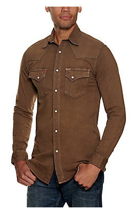 Rafter C ProFlex Men's Solid Bark Wash Long Sleeve Western Shirt