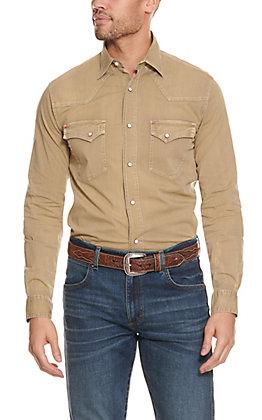 Rafter C ProFlex45 Men's Washed Dark Khaki Long Sleeve Stretch Western Shirt