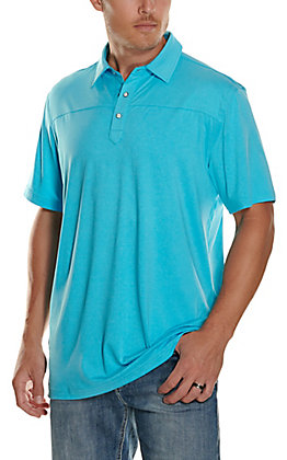 Rafter C Men's Turquoise Blue Short Sleeve Polo Shirt