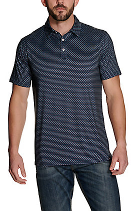 Rafter C Men's Navy with Geo Print Short Sleeve Polo Shirt