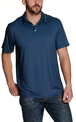 Rafter C Men's Black with Blue Geo Print Short Sleeve Polo Shirt