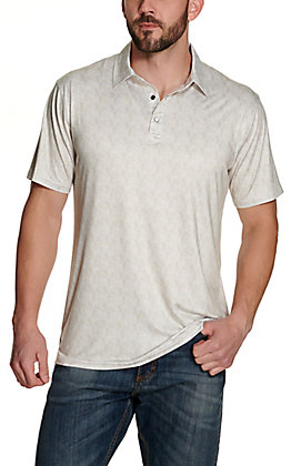 Rafter C Men's Tan and White Paisley Print Short Sleeve Polo Shirt
