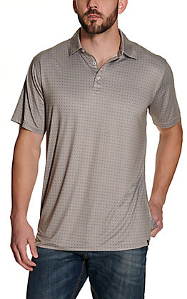 Rafter C Men's Tan with Black and White Diamond Print Short Sleeve Polo Shirt