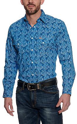Rafter C ProFlex45 Men's Blue and Black Paisley Long Sleeve Western Shirt