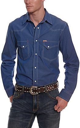 Rafter C ProFlex45 Men's Blue Micro Gingham Long Sleeve Western Shirt