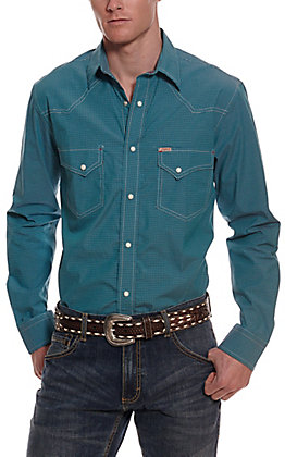 Rafter C ProFlex45 Men's Turquoise & Navy Micro Gingham Long Sleeve Western Shirt