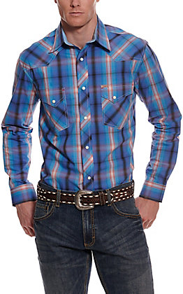 Rafter C ProFlex45 Men's Blue, Red and Purple Plaid Long Sleeve Western Shirt