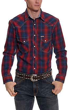Rafter C ProFlex45 Men's Red and Blue Plaid Long Sleeve Western Shirt