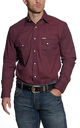Rafter C ProFlex45 Men's Black with Red & Blue Diamond Print Long Sleeve Western Shirt