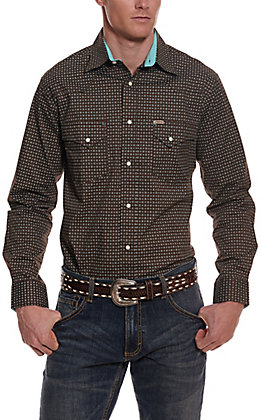Rafter C ProFlex45 Men's Chocolate with Turquoise Mini Print Long Sleeve Western Shirt