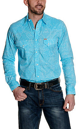 Rafter C ProFlex45 Men's Turquoise and White Paisley Print Long Sleeve Western Shirt