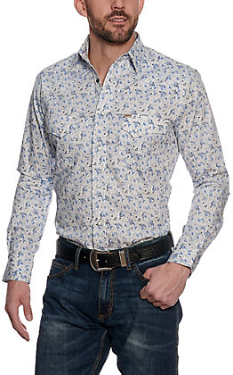 Rafter C ProFlex45 Men's White with Blue Paisley Long Sleeve Western Shirt