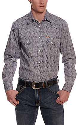 Rafter C ProFlex45 Men's Blue and White Paisley Long Sleeve Western Shirt