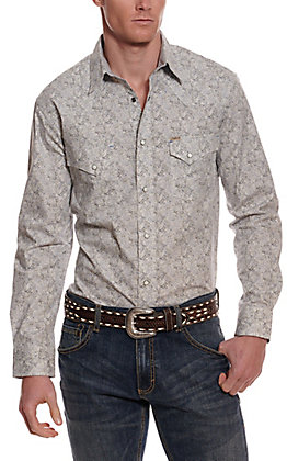 Rafter C ProFlex45 Men's White with Grey Paisley Long Sleeve Western Shirt