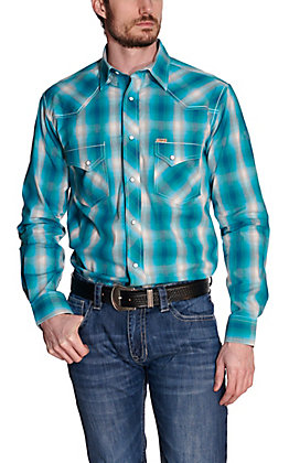 Rafter C ProFlex45 Men's Turquoise & White Plaid Long Sleeve Western Shirt