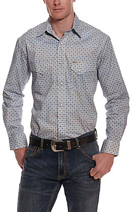 Rafter C ProFlex45 Men's White with Blue Print Long Sleeve Western Shirt