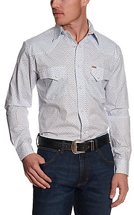 Rafter C ProFlex45 Men's White with Blue Fan Print Long Sleeve Western Shirt
