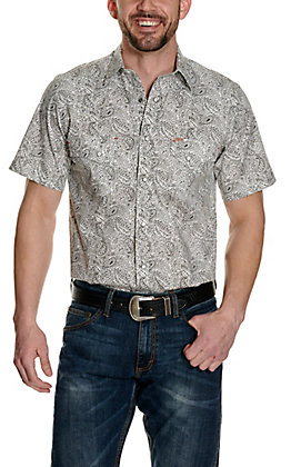 Rafter C ProFlex45 Men's White with Black Paisley Print Short Sleeve Western Shirt - Big & Tall