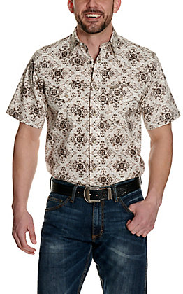 Rafter C ProFlex45 Men's Cream with Brown Medallion Print Short Sleeve Western Shirt - Big & Tall