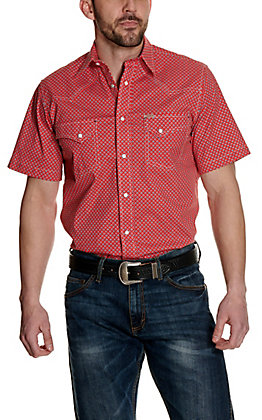 Rafter C ProFlex45 Men's Red with Blue Diamond Print Short Sleeve Western Shirt