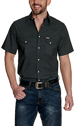Rafter C ProFlex45 Men's Black with Diamond Print Short Sleeve Western Shirt