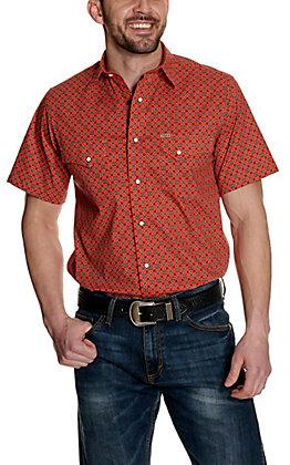 Rafter C ProFlex45 Men's Orange with Black and White Geo Print Short Sleeve Western Shirt
