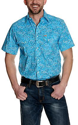 Rafter C ProFlex45 Men's Turquoise Bandana Print Short Sleeve Western Shirt