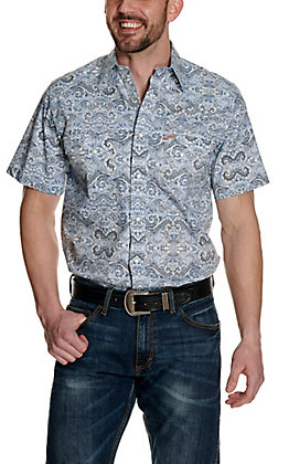 Rafter C ProFlex45 Men's Blue and White Paisley Short Sleeve Western Shirt