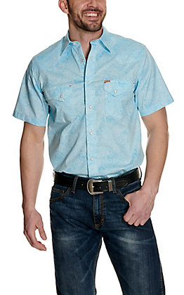 Rafter C ProFlex45 Men's Turquoise and White Paisley Short Sleeve Western Shirt