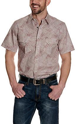 Rafter C ProFlex45 Men's Burgundy and White Paisley Print Short Sleeve Western Shirt - Big & Tall