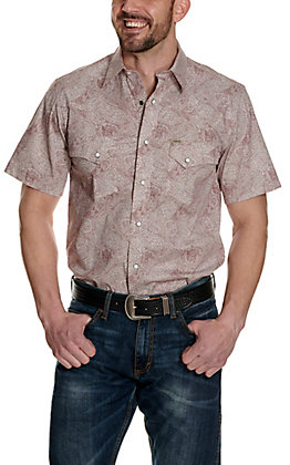 Rafter C ProFlex45 Men's Burgundy and White Paisley Short Sleeve Western Shirt