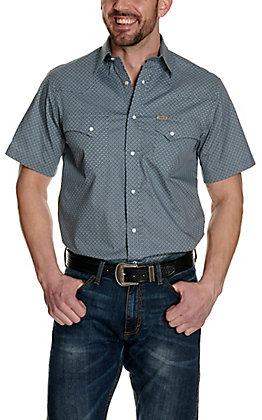 Rafter C ProFlex45 Men's Grey with Blue and White Diamond Print Short Sleeve Western Shirt