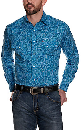 Rafter C ProFlex 45 Men's Blue with White and Black Paisley Print Long Sleeve Stretch Western Shirt