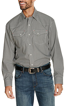 Rafter C Easy Wear 45 Men's Black Gingham Long Sleeve Western Shirt