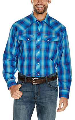 Rafter C ProFlex45 Men's Turquoise and Red Plaid Long Sleeve Western Shirt